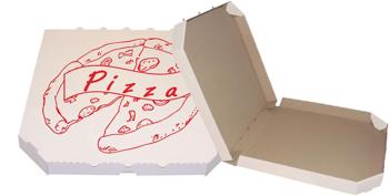 Obrázek Pizza krabice, 50 cm, bílo hnědá s potiskem