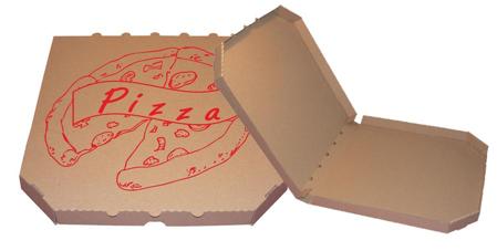 Obrázek z Pizza krabice, 28 cm, hnědo hnědá s potiskem