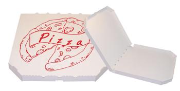 Obrázek Pizza krabice, 28 cm, bílo bílá s potiskem